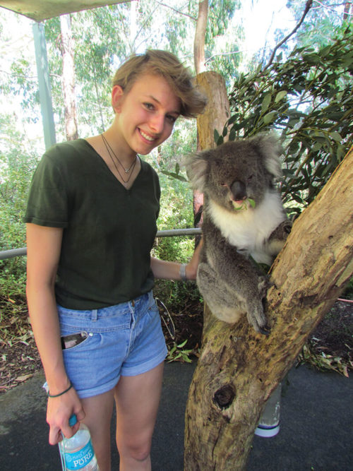 International Student with koala