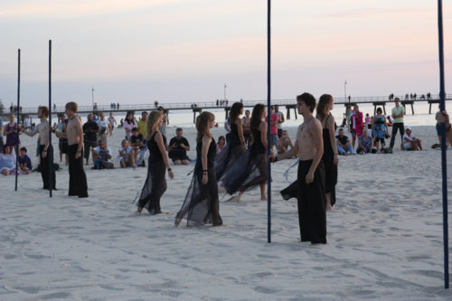Beach performance by students from Lift Dance Theatre