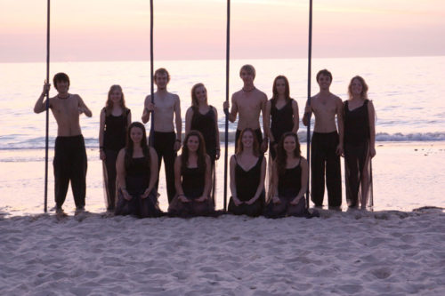 Group of Lift Dance Theatre students at the beach