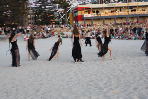 Lift Dance Theatre Students dancing on the beach