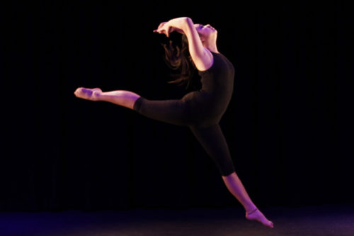 Female student dancing in Lift Theatre