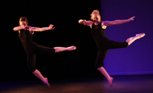 2 female students dancing in Lift Theatre