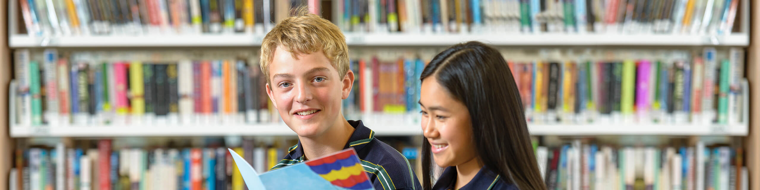 Two students in Brighton Secondary School Library