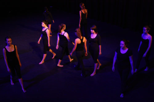 Group of students on stage for Silence of Nothing for Lift Dance Theatre