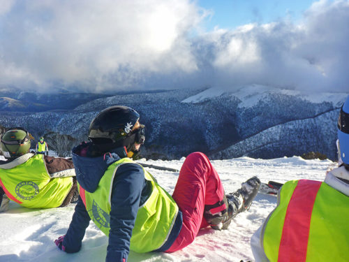 Ski Trip students taking in the view of snow covered hills
