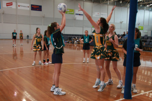 School Sports students playing volleyball
